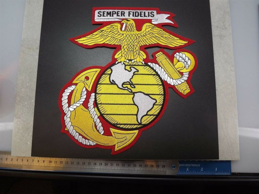 MARINE CORPS USMC JACKET PATCH SEMPER FI X-LARGE NEW EAGLE GLOBE ANCHOR 10-inch 1