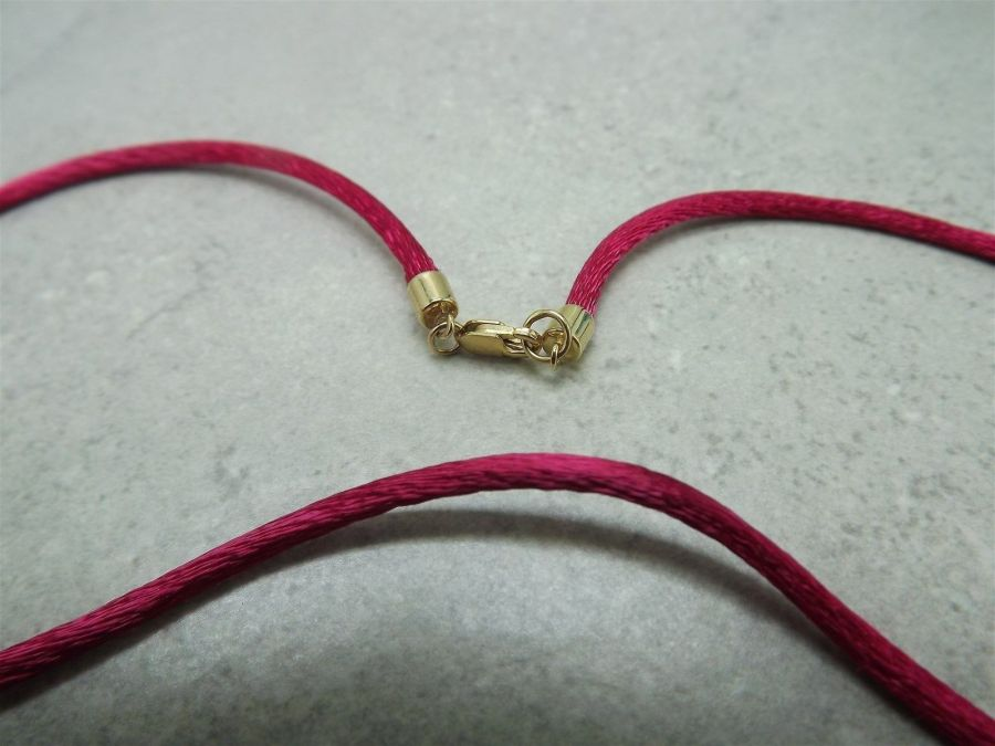 Vintage 14k Yellow Gold Fuchsia Silk Necklace 585 Solid 2 Grams 15-inch 3