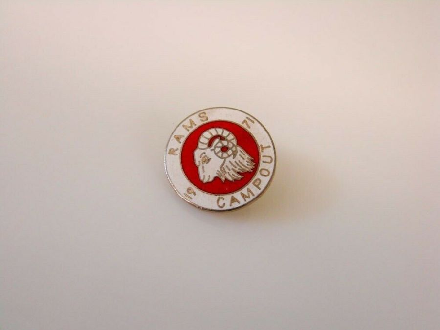 1971 Rams Campout Vintage MOTORCYCLE CLUB Pin 1