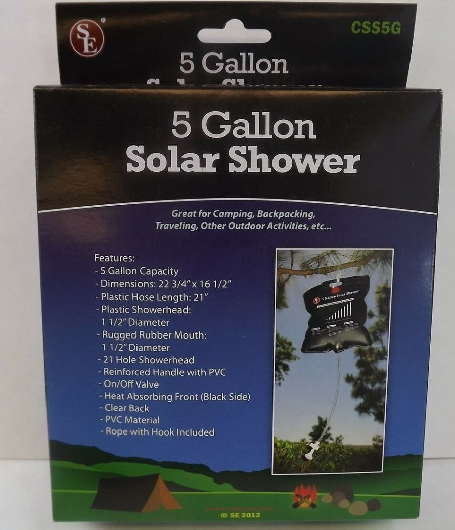 BRAND NEW OUTDOOR HANGING SOLAR SHOWER 5 GALLON CAPACITY PORTABLE TRAVEL CAMPING 1