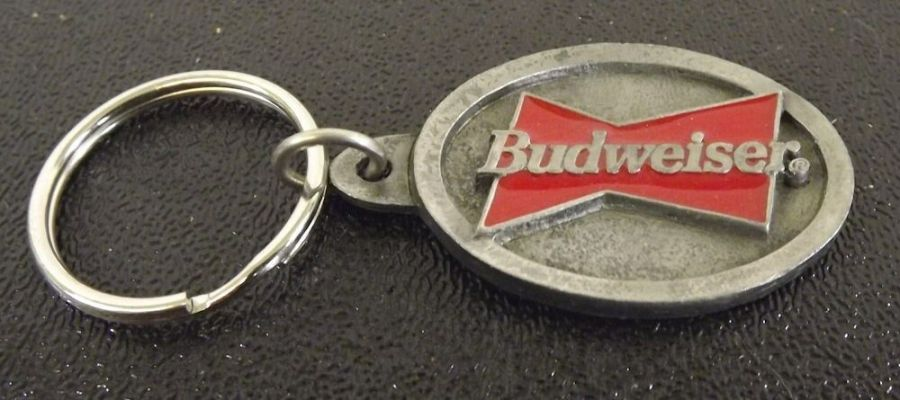 Collectible Solid Pewter Enameled Keychain Budweiser Classic Logo 1