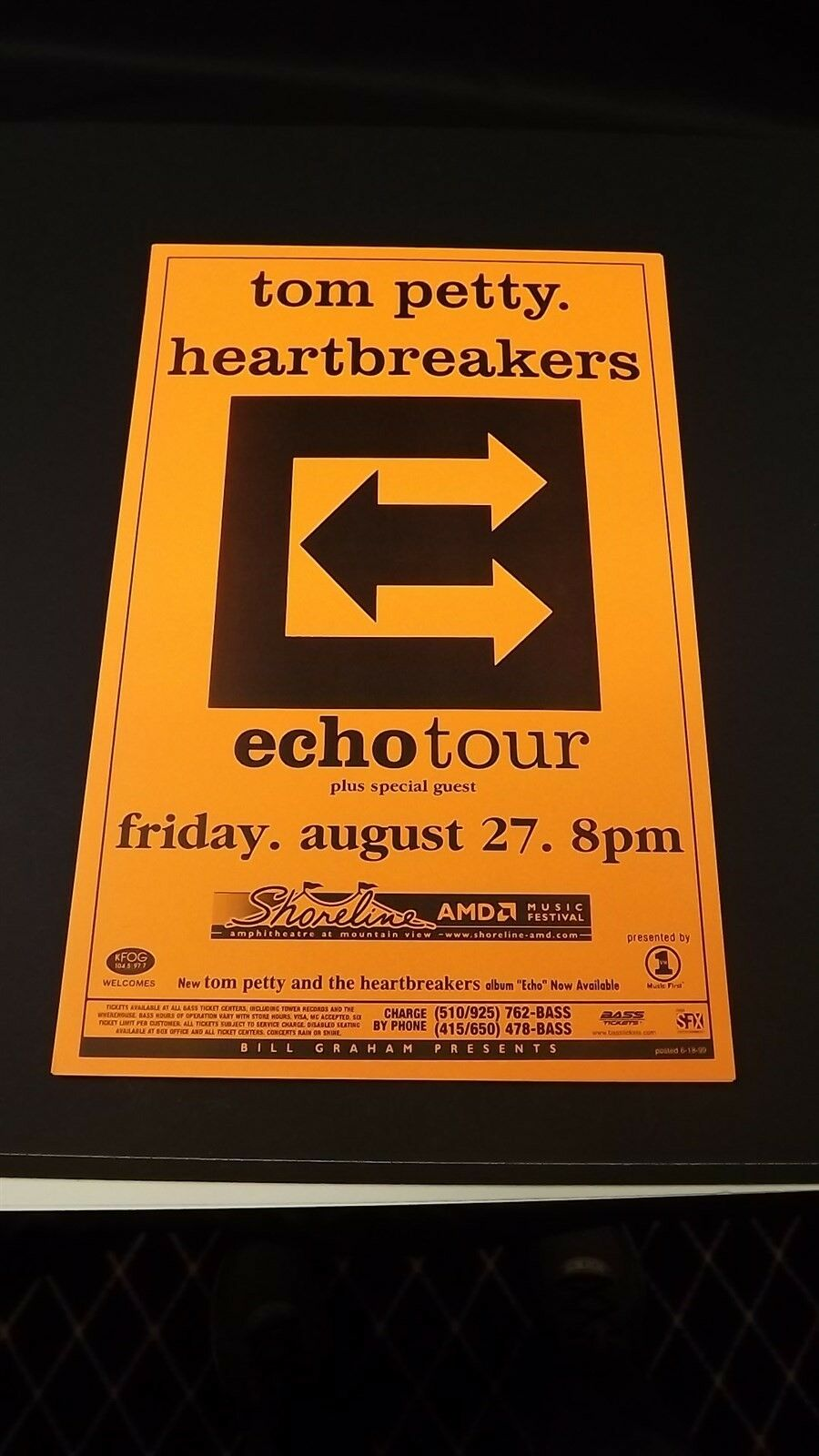 Genuine 1999 TOM PETTY & THE HEARTBREAKERS Echo Tour Concert Poster Flyer Ad 1