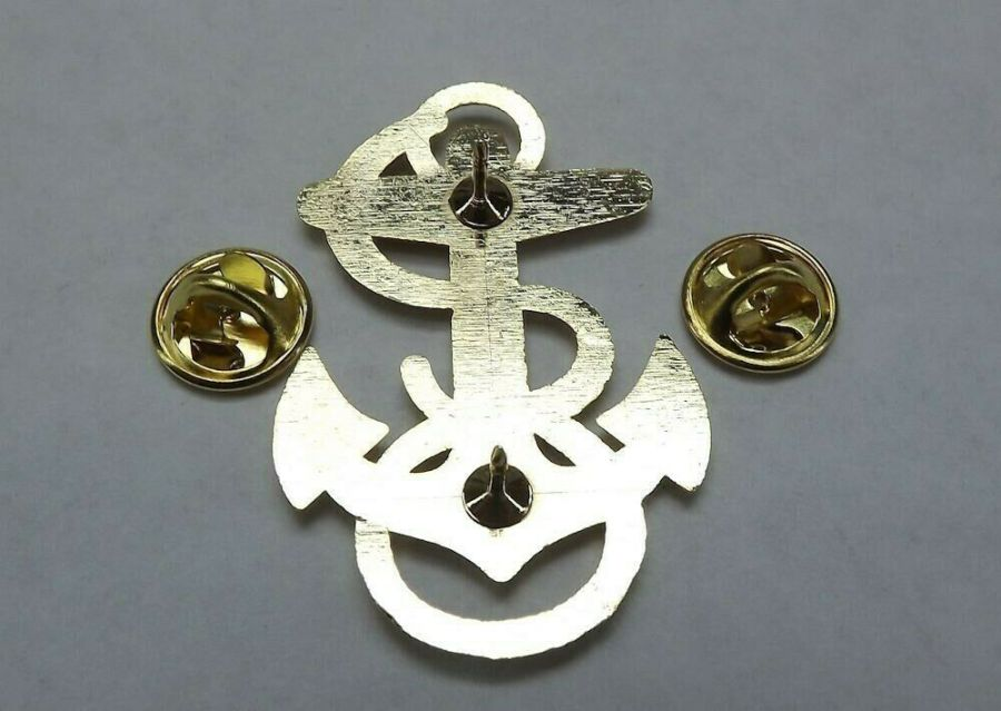 """Lapel pin NEW Badge USN Navy Midshipman 1-7/8"""" Gold Plated Brass 4"""