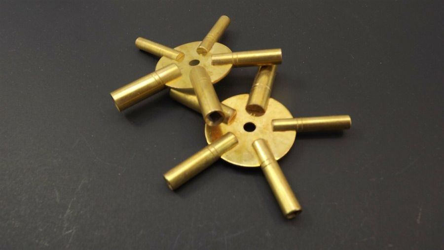 """Brand New 5 Way Brass """"Clock Winding Keys"""" Even and Odd Numbers one pair 2-piece 2"""