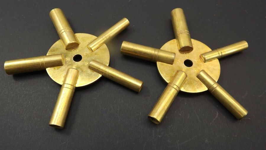 """Brand New 5 Way Brass """"Clock Winding Keys"""" Even and Odd Numbers one pair 2-piece 1"""