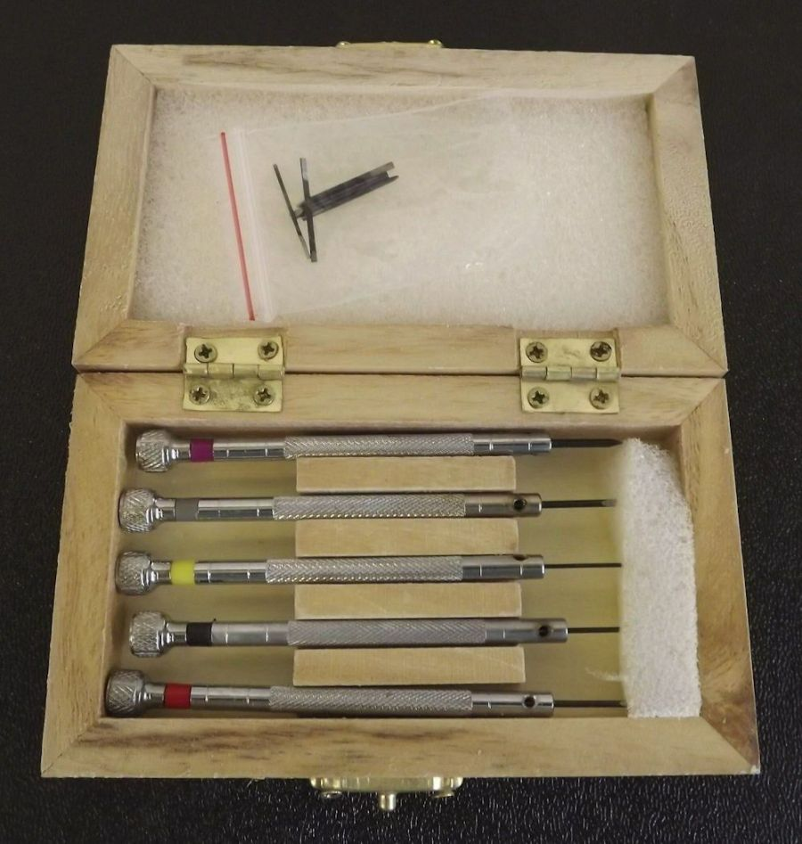 New 5pc Precision MICRO Screwdriver Set in a Wooden Box (WITH 5 EXTRA TIPS) 1