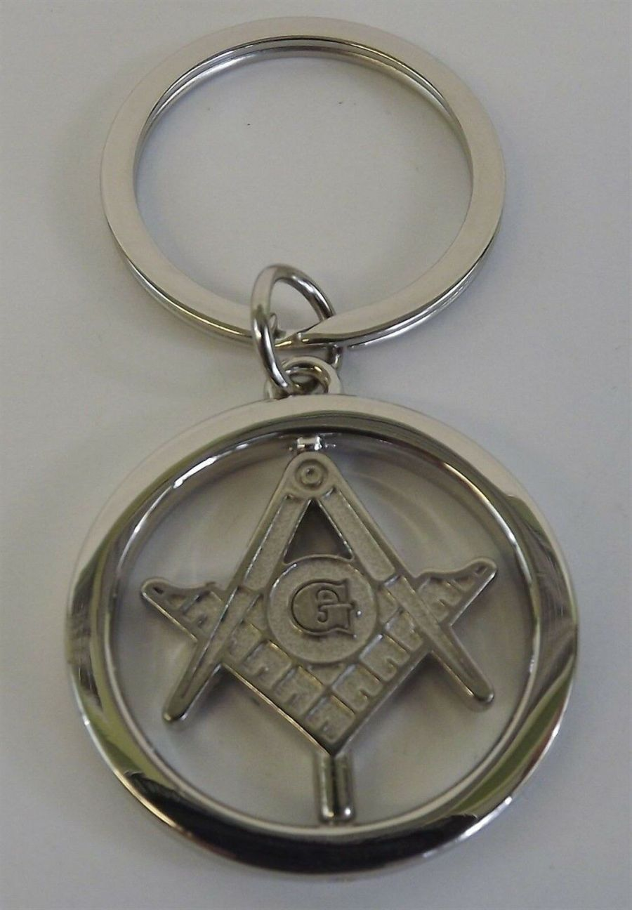 "New Silver Tone Masonic Mason Key Chain Square & Compass FREEMASON ""SPINS"" 3"