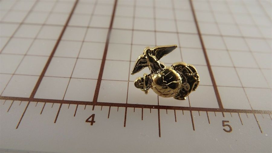"USMC Gold Tone Right Collar ""Mini Pin"" United States Marine Corps Lapel EGA A1 1"