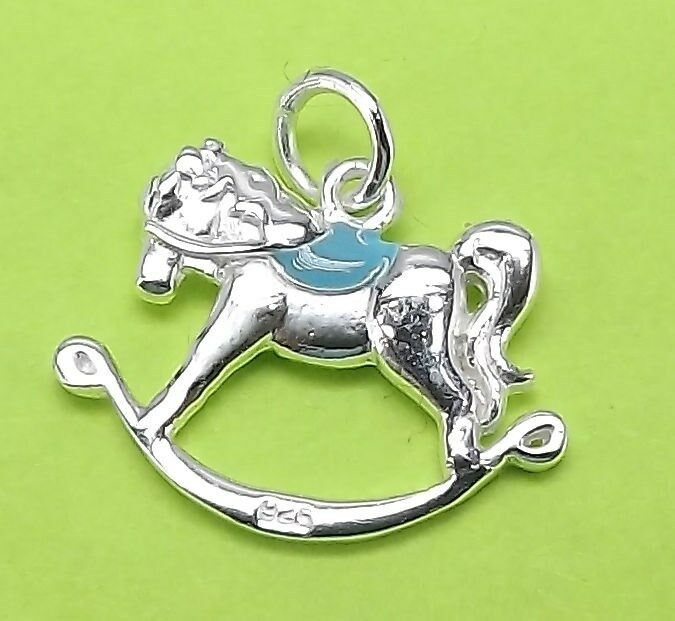 Unique Sterling Silver 925 Bracelet Necklace Charm Rocking Horse Charm BOY 3