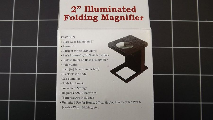 """3x / 2"""" Illuminated Folding Magnifier with Built in Ruler on Base, Glass Lens 4"""