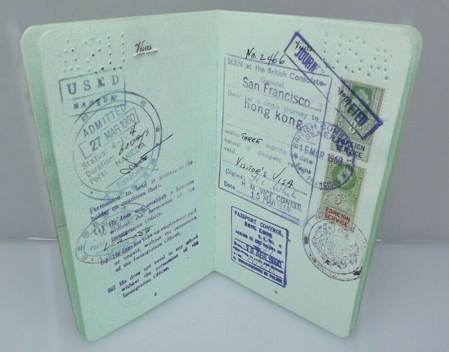 Effie Mona Mack's original Passport issued 1960 with travel stamps 3