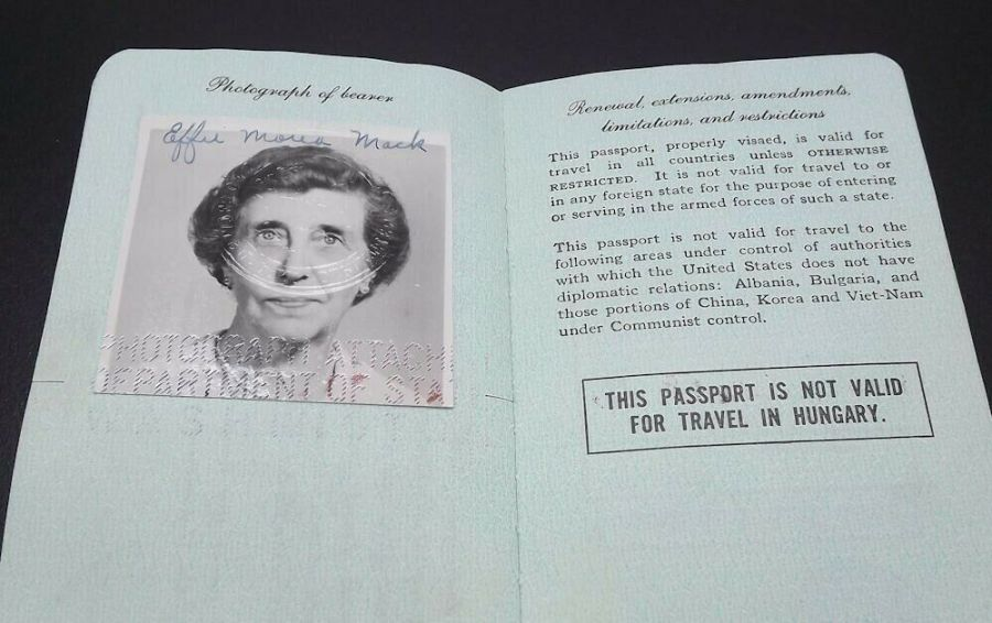 Effie Mona Mack's original Passport issued 1960 with travel stamps 6