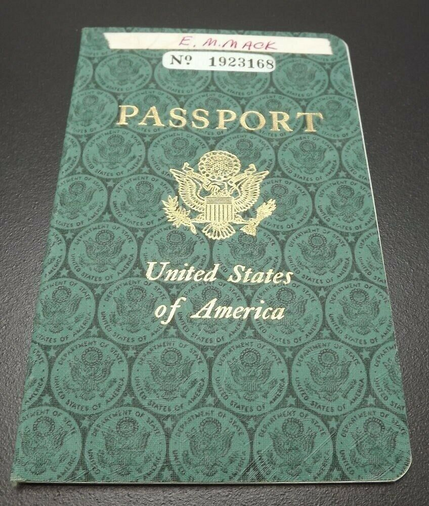 Effie Mona Mack's original Passport issued 1960 with travel stamps 1