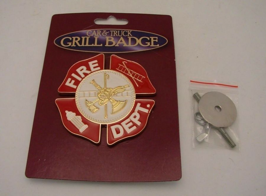 "FIRE DEPARTMENT GRILL BADGE CAR TRUCK NEW 3-1/16""  BRAND NEW BRASS 1"