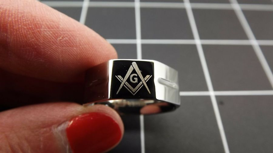 New Stainless Steel Masonic Freemason Square & Compass Blue Lodge Band Ring 1