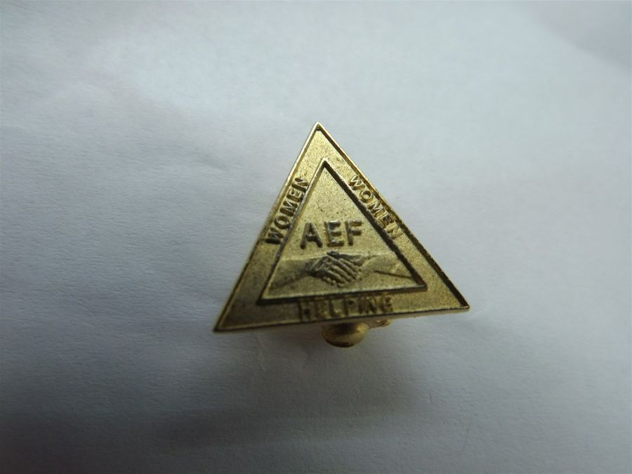 American Legion Women Helping Women AEF Triangle Gold Tone Lapel/Hat Pin 1