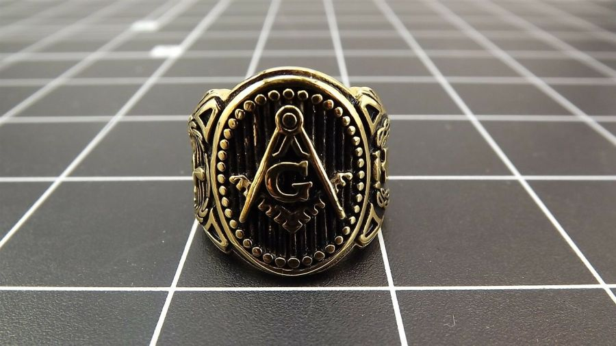 Anodized Gold Plated Stainless Steel Enamel Free Mason Masonic Ring 1