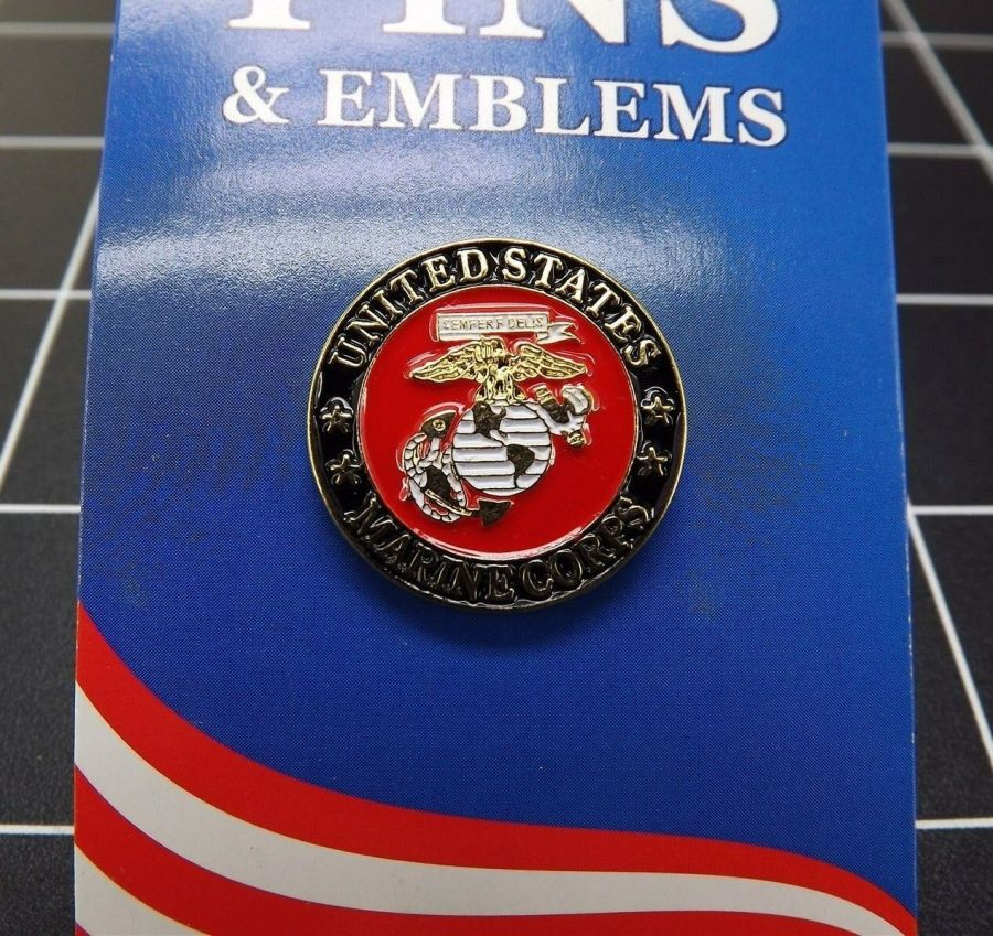 "BRAND NEW Lapel Pin Marine Corps USMC Red & Black Enamel 7/8"" CLOSEOUT 1"