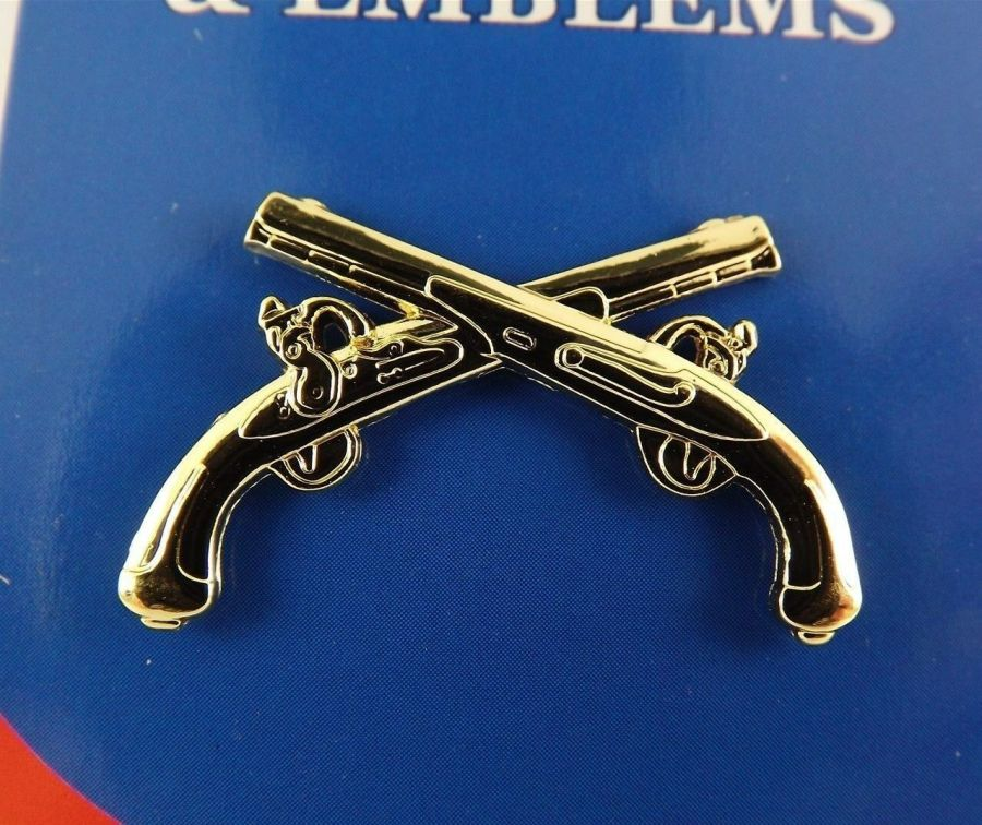 """BRAND NEW Lapel Pin Military / Police Crossed GUNS Gold Tone 1 1/4"""" 1"""