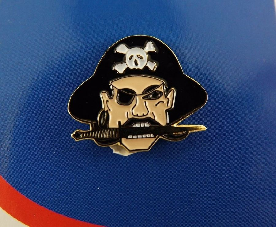 "BRAND NEW Lapel Pin PIRATE Skull & Crossbones Black & White Enamel 1"" 1"