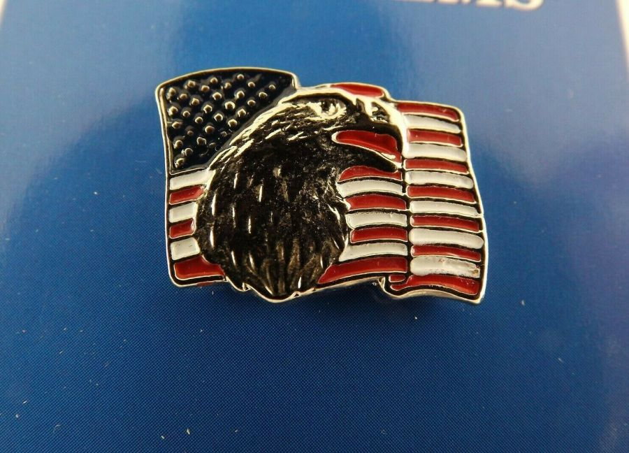 """BRAND NEW Lapel Pin United States Of America Flag W/ Eagle Pewter 1"""" 1"""