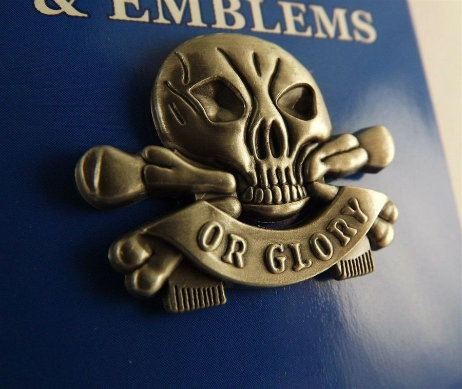 "BRAND NEW PEWTER Lapel Pin Death Or Glory Skull Crossbones 1"" 1"
