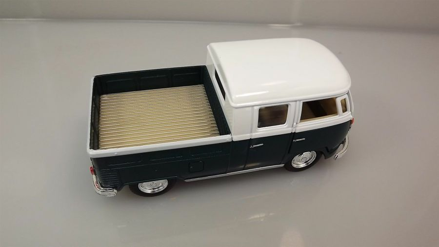 Die Cast Green 1963 Double Cab Pickup Volkswagen Classic Bus 1:34 Scale New 4