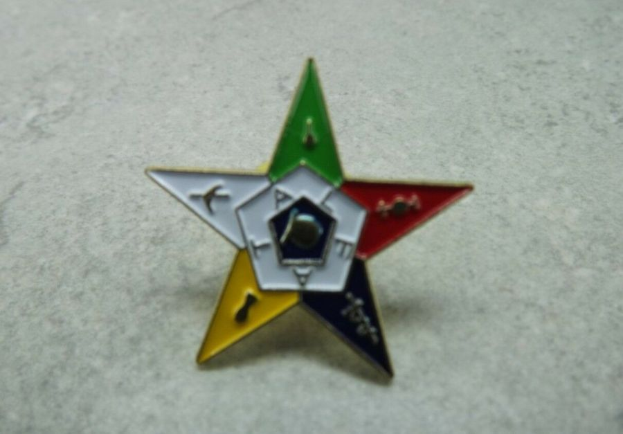 """EASTERN STAR"" LAPEL / HAT PIN BRAND NEW ENAMELED LARGE CUT-OUT 1"