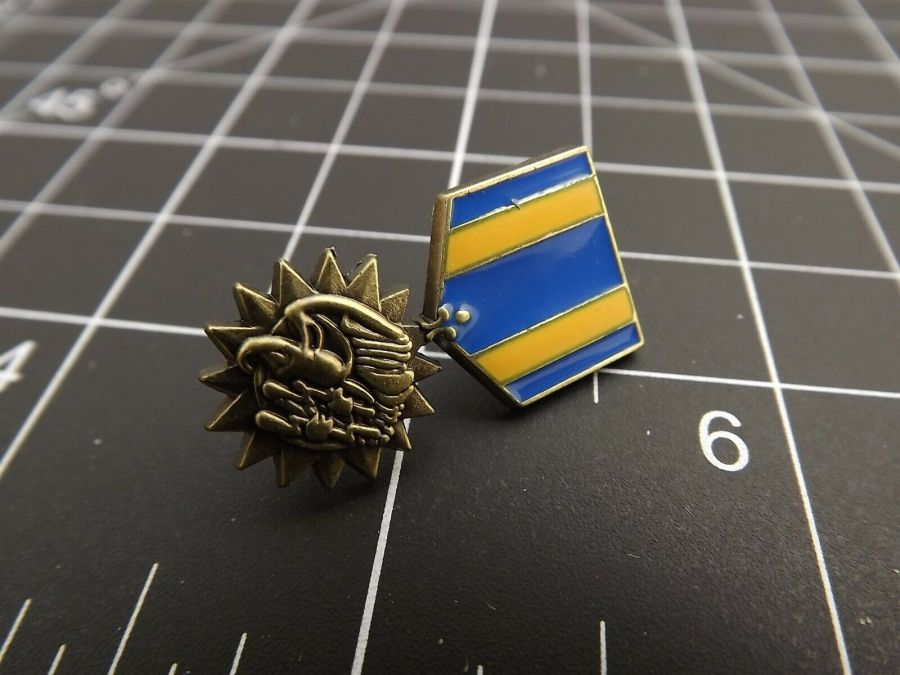 "BRAND NEW Lapel Pin United States Air Medal Blue & Yellow Enamel 1 3/16"" 3"