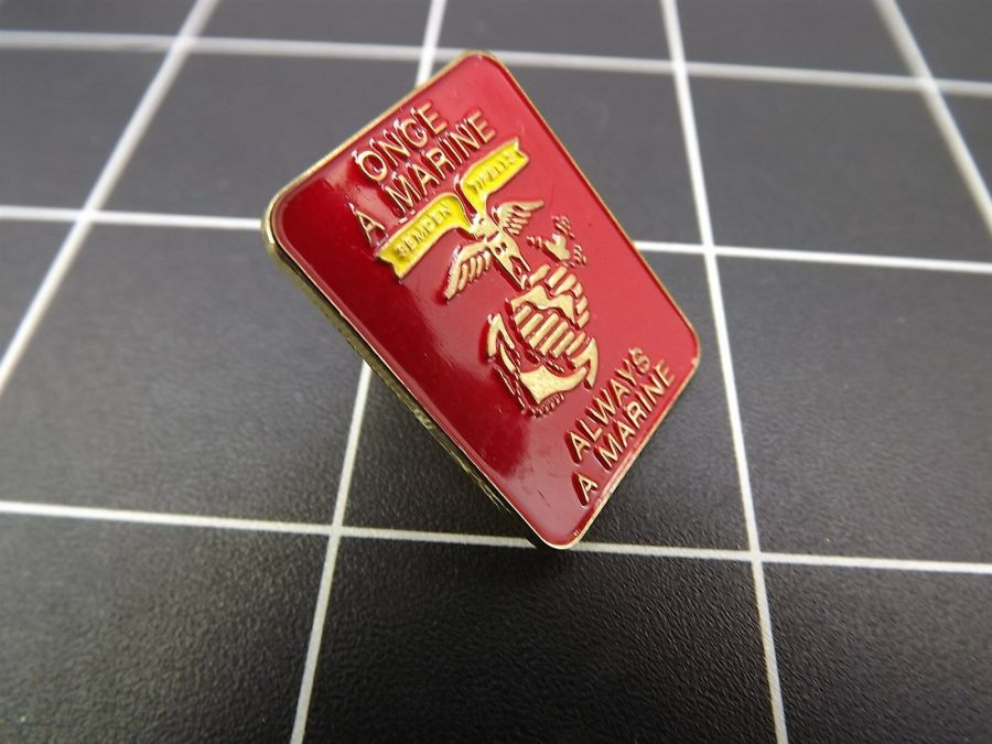 """CLOSEOUT! BRAND NEW Lapel Pin """"ONCE A MARINE ALWAYS A MARINE"""" USMC 4"""