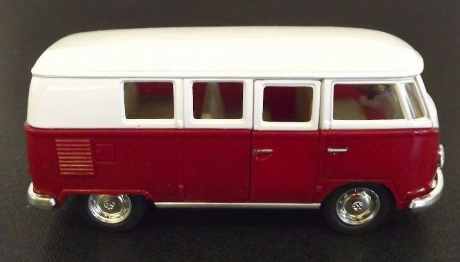 Collectible Die Cast RED 1962 Volkswagen Classic Bus VW 1:32 Scale Kinsmart 3