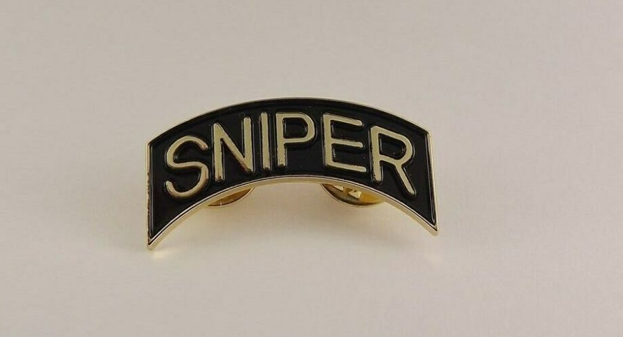 """Lapel pin NEW """"SNIPER"""" METAL BRAND NEW """"BLACK/GOLD"""" DOUBLE PIN 1-1/4"""" wide 1"""