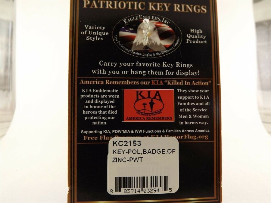 PEWTER ENAMEL KEY RING KEYCHAIN NEW POLICE OFFICER BADGE 3