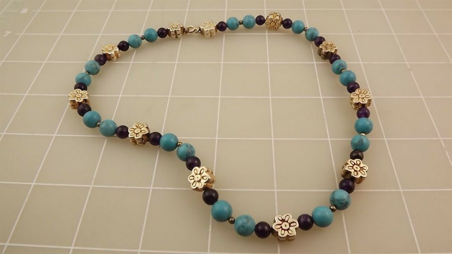 "Sterling Silver 925 TURQUOISE Beaded Necklace Measures 17"" 1"