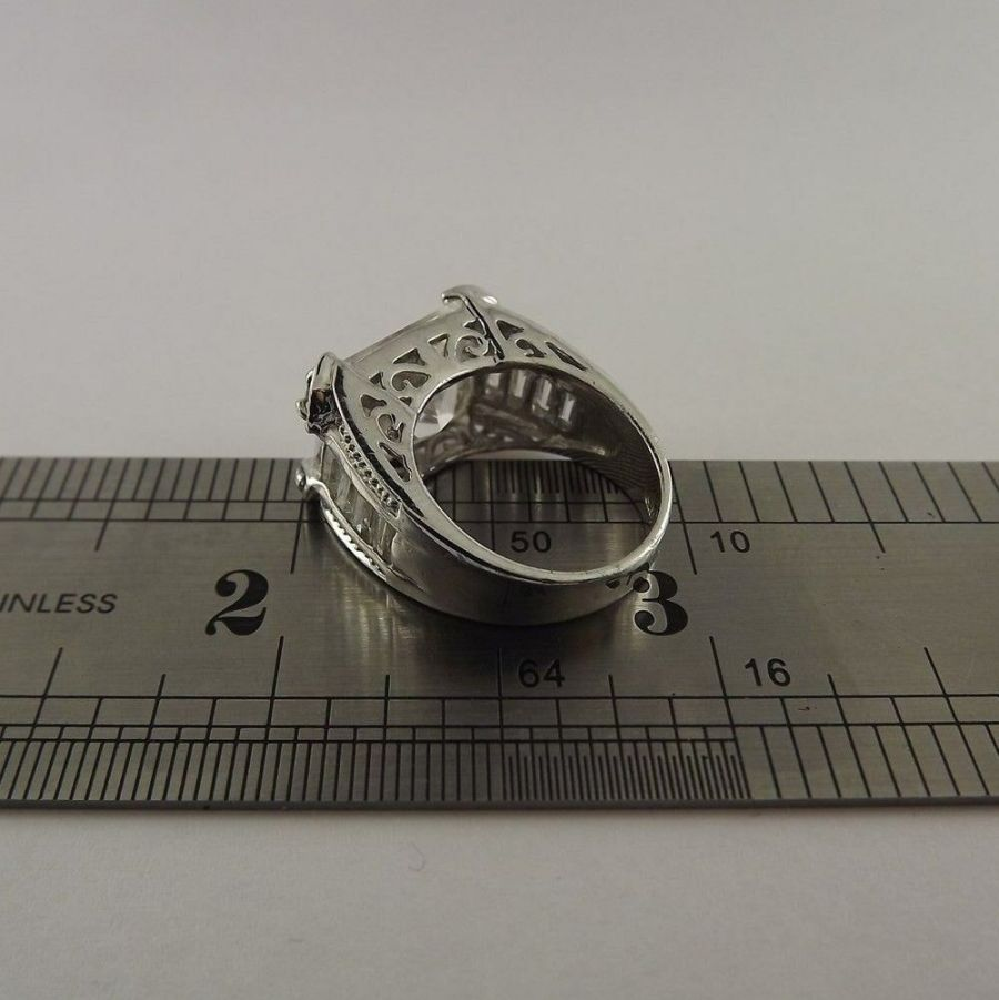 Vintage Sterling Silver Brilliant Stone Ring .925 Solid 8.2 Grams Size 5-1/4 3