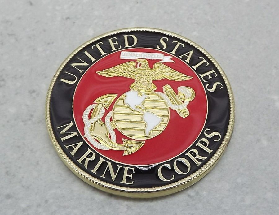 "CHALLENGE COIN, US MADE NEW USMC Marines Logo Enameled Brass USA MADE 1-1/2"" 4"