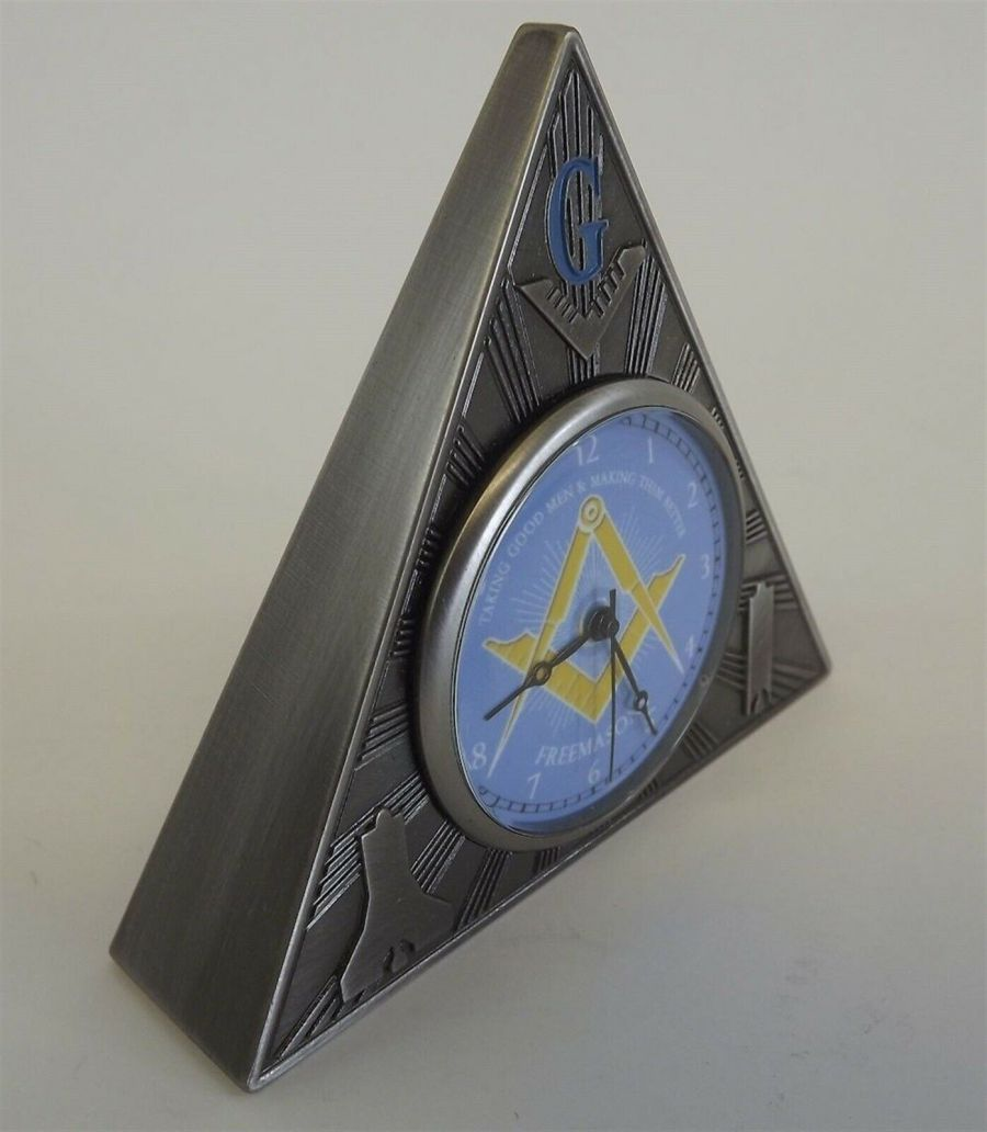 New Masonic Mason Triangle Table Clock Office Desk Clock Paperweight FREEMASON 3