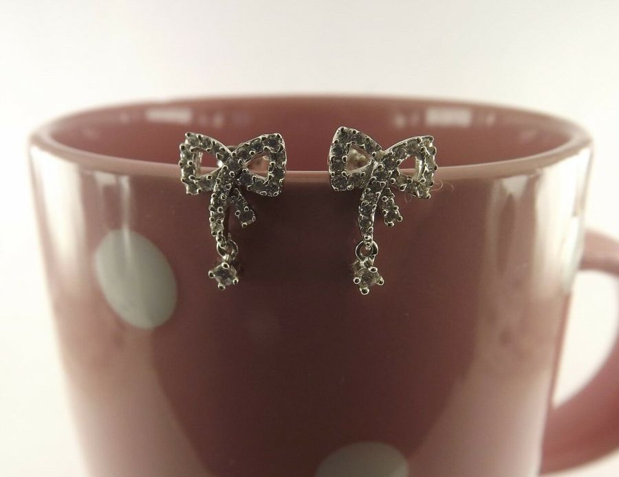 New Sterling Silver 925 Bow Earrings W/ Cubic Zirconia Stones Bow Tie Stud 1