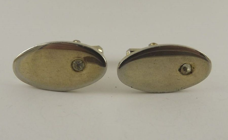 Vintage Gold Tone Oval Shape Clear Stone Stud Type Mens Cuff Links 1