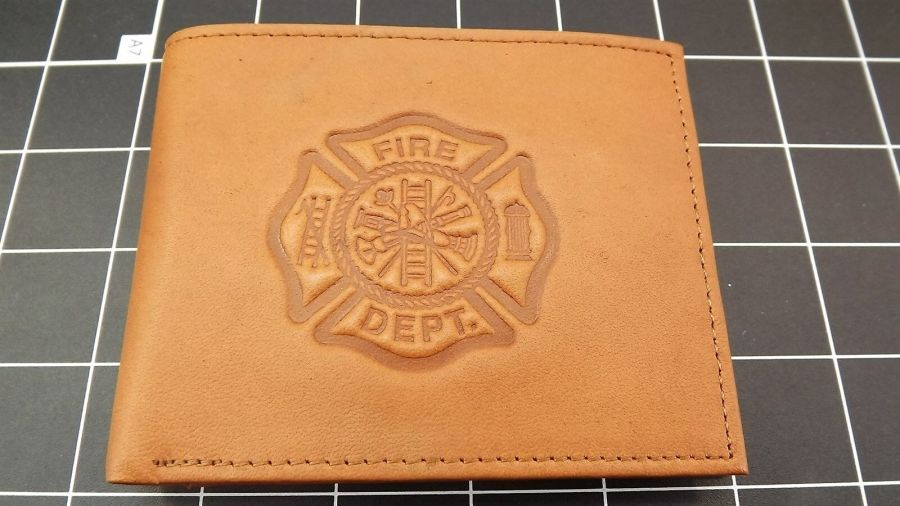 "Genuine Leather ""FIREMAN-FIREFIGHTER"" BILLFOLD WALLET TAN BRAND NEW 1"