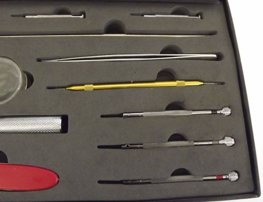 New 29 Piece Watch Repair Kit In Black Magnetic Hard Case Watch Maker Tool 4
