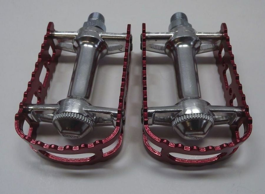 New MKS BM-7 BMX 9/16 Pedals Old School Bmx Red Anodized 4
