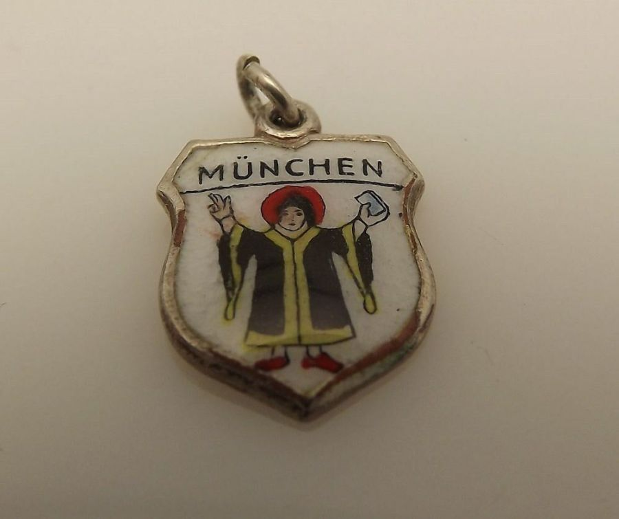 Old 800 80% Fine Silver Travel Charm Munchen Germany 1