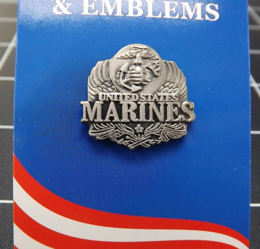 "BRAND NEW Lapel Pin United States Marines USMC Pewter Emblem 1"" 1"