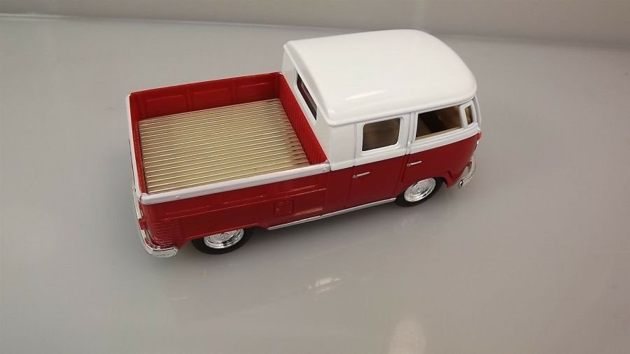 Die Cast RED 1963 Double Cab Pickup Volkswagen Classic Bus 1:34 Scale New 4