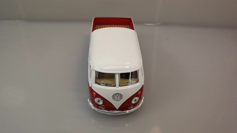 Die Cast RED 1963 Double Cab Pickup Volkswagen Classic Bus 1:34 Scale New 5