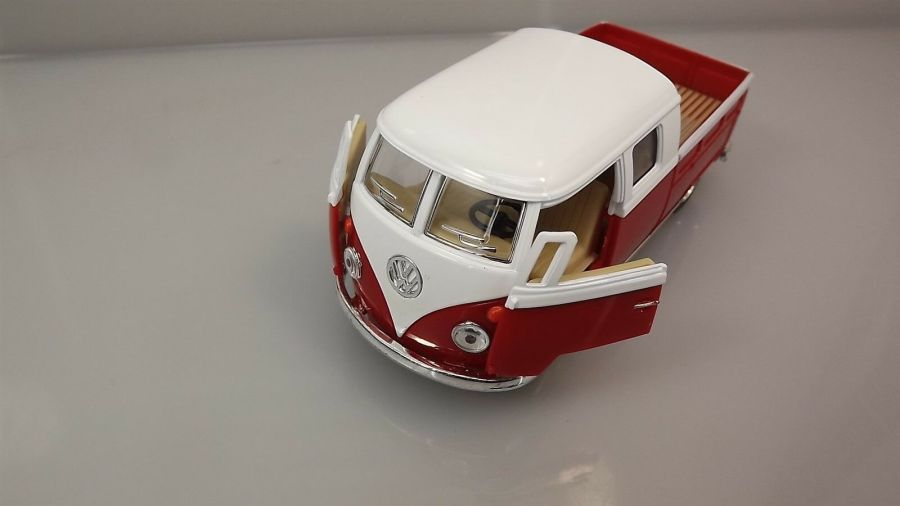 Die Cast RED 1963 Double Cab Pickup Volkswagen Classic Bus 1:34 Scale New 6