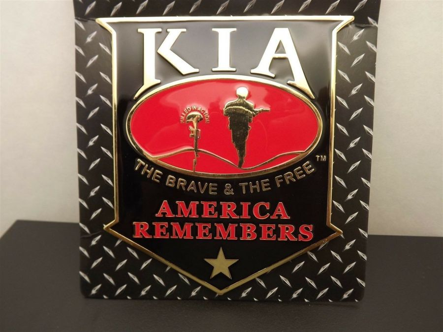 """""""KIA"""" GRILL BADGE CAR TRUCK WALL MOUNTED BRAND NEW 5-1/2"""" ENAMELED BRASS 3"""