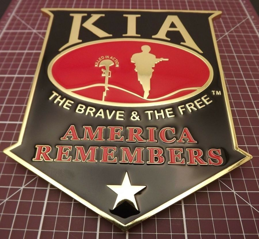 """""""KIA"""" GRILL BADGE CAR TRUCK WALL MOUNTED BRAND NEW 5-1/2"""" ENAMELED BRASS 1"""