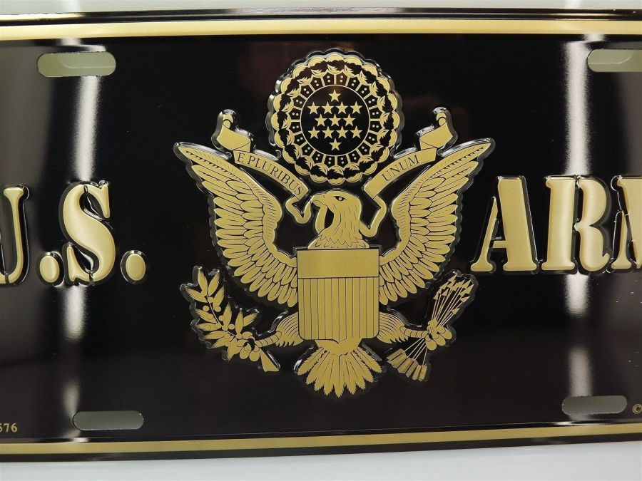 LICENSE PLATE U.S. ARMY EAGLE LOGO STANDARD SIZE MILITARY BRAND NEW EMBOSSED 3